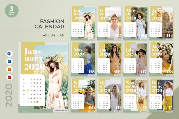 Thumbnail for Fashion Calendar 2020 Calendar - AI, DOC, PSD