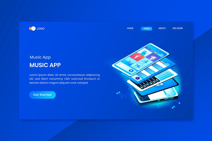 Thumbnail for Music App  Isometric Concept Landing Page