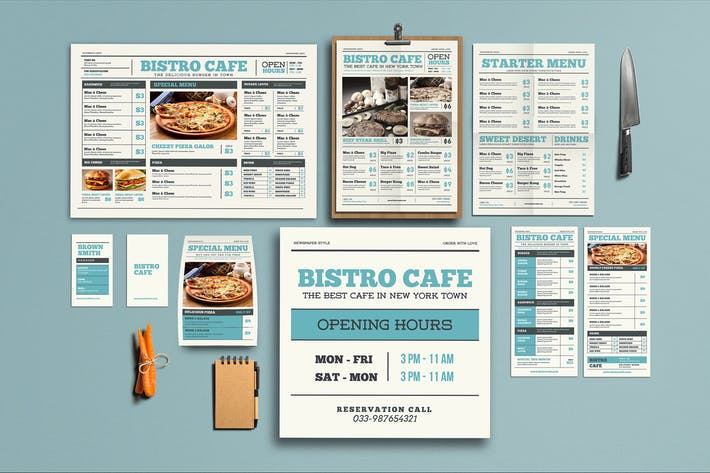 Thumbnail for Newspaper Style Menu Package