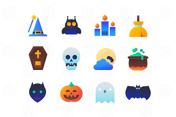 Thumbnail for Halloween - set of flat design style icons