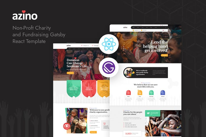 Thumbnail for Azino - Gatsby React Nonprofit Charity Template