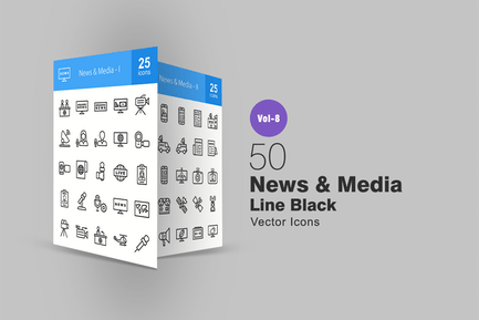 50 News & Media Line Icons