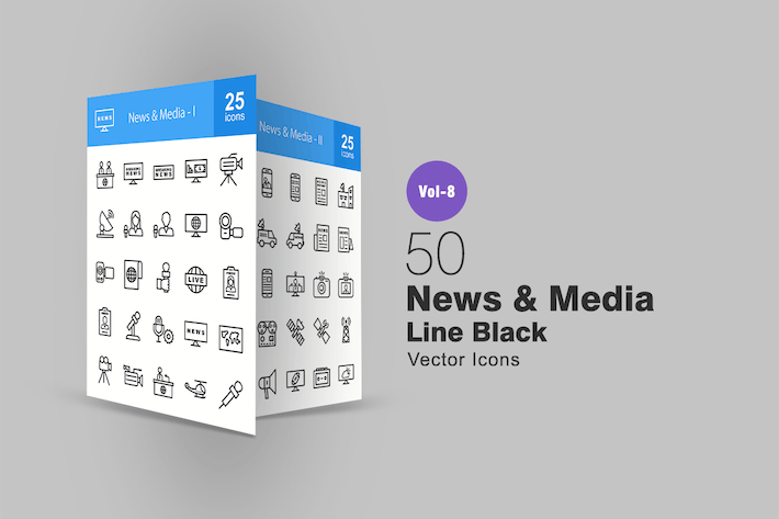Thumbnail for 50 News & Media Line Icons