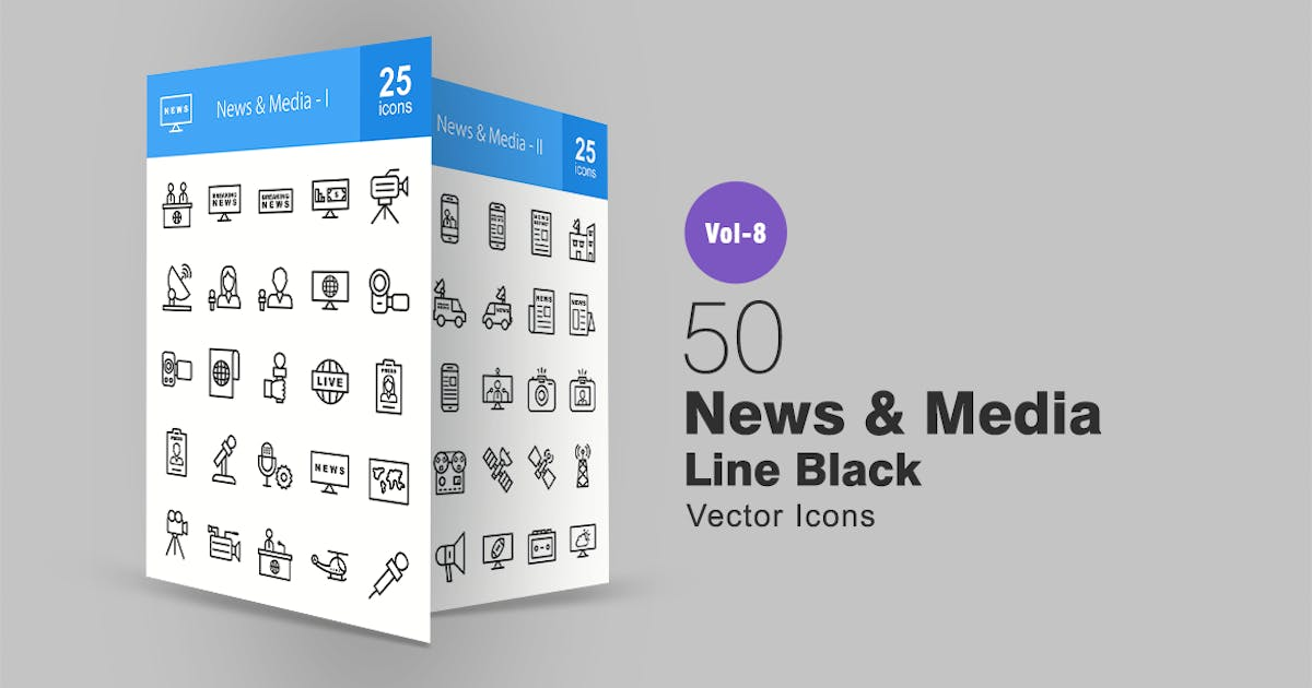 Download 50 News & Media Line Icons by IconBunny