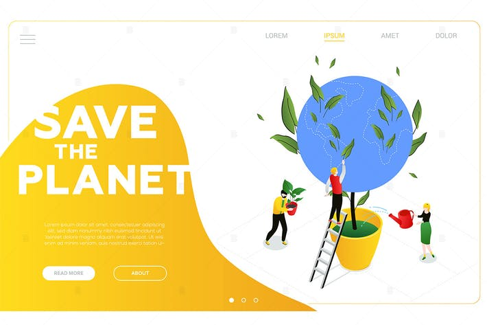 Thumbnail for Save the planet - colorful isometric web banner