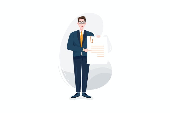 Geschäftsmann zeigt auf ein Papier in der Hand