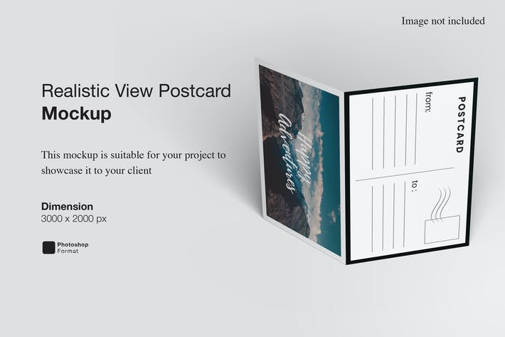 Realistic View Postcard Mockup