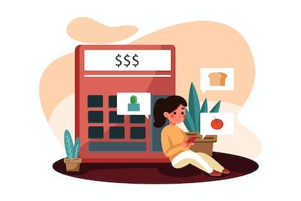 Shopping Budget Vektor Illustration Konzept