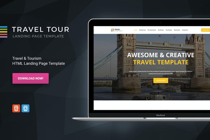 Cover Image For Travel Tour Html Tourism Landing Page