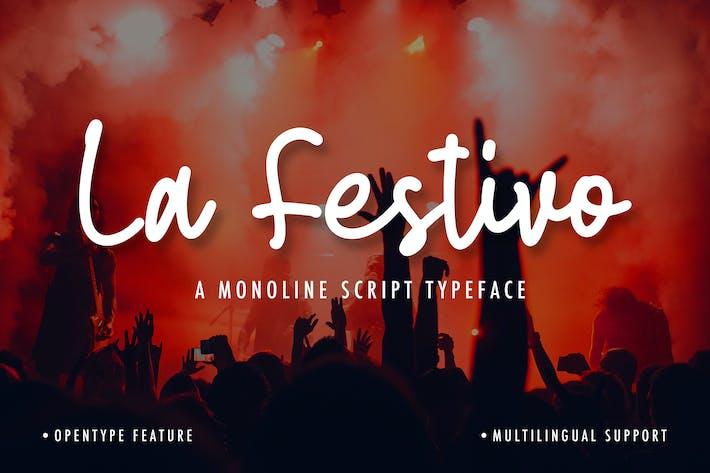 Thumbnail for La Festivo Monoline Script Font
