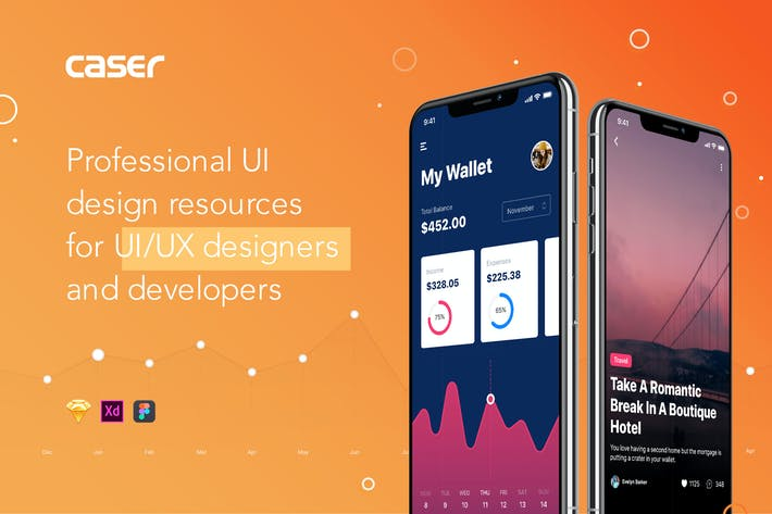 Thumbnail for Caser UI Kit - ADOBE XD Version