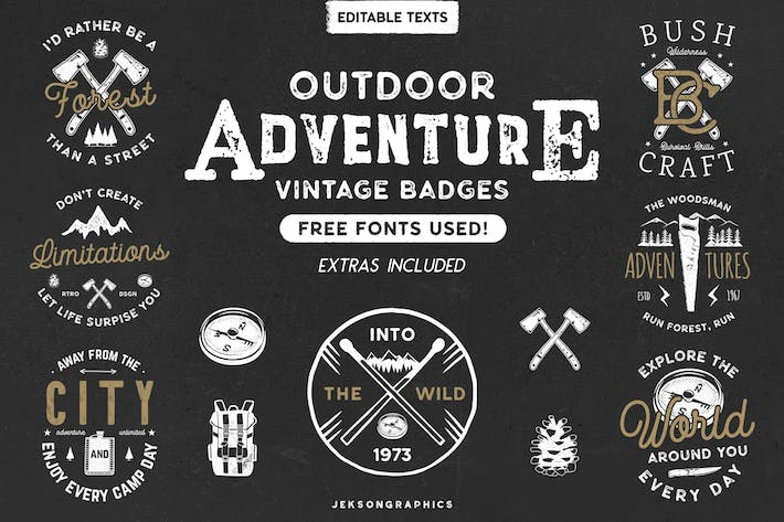 Thumbnail for 12 Vintage Outdoor Adventure Logos / Retro Badges