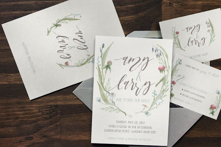 Cover Image For Watercolor Flower Wedding Invitation