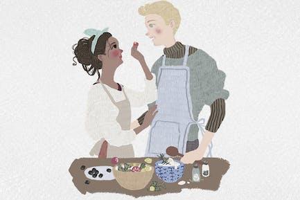 Couple in love - valentine cute cartoon art