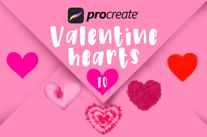 Thumbnail for Procreate Valentine Hearts Stamp Brushes