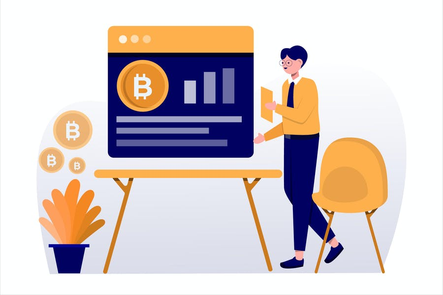 Bitcoin Market Flat Vector Illustration