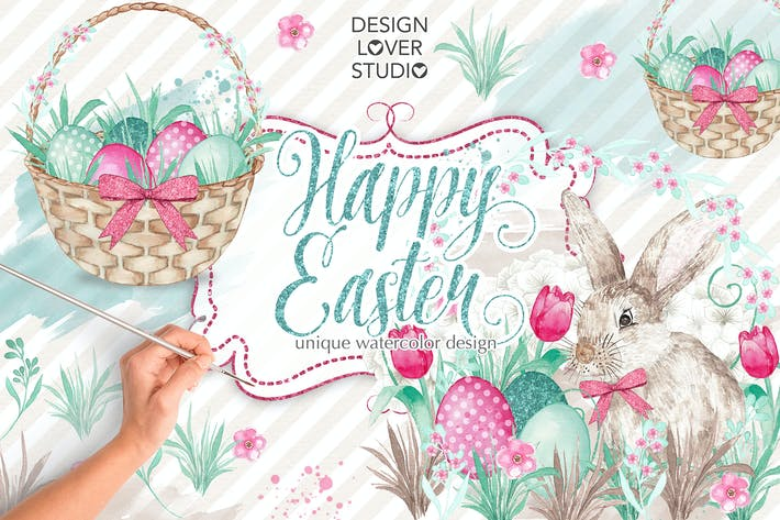Thumbnail for Watercolor happy Easter design