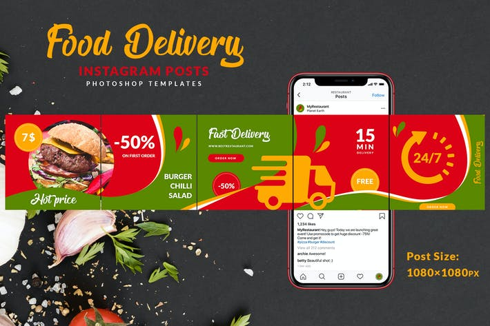 Thumbnail for Food Delivery Instagram Carousel
