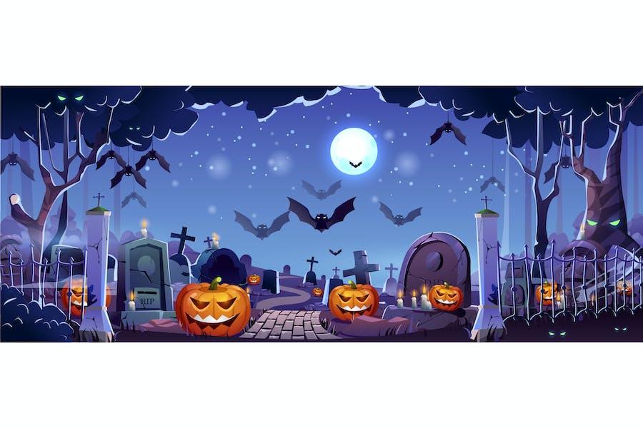 Halloween Graveyard Web Banner