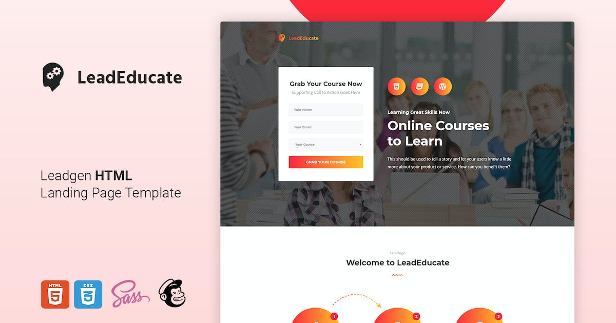 Download LeadEduco - Education HTML Landing Page Template by Morad