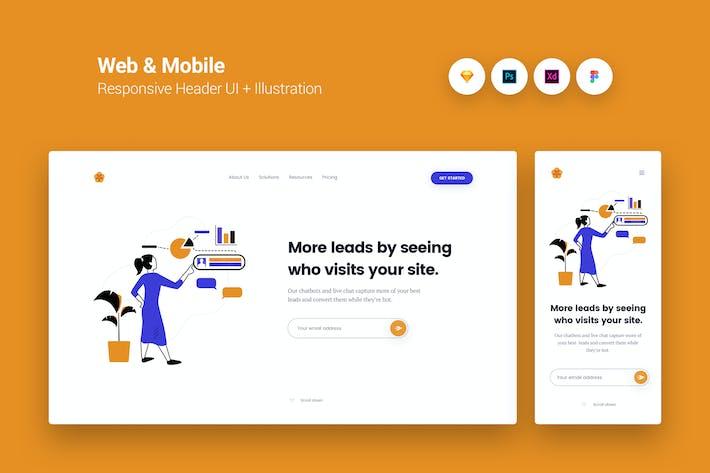Thumbnail for Web & Mobile Responsive Cover UI + Illustration 2