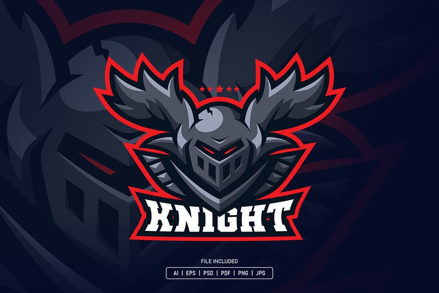 Knight helmet with horn esport logo template
