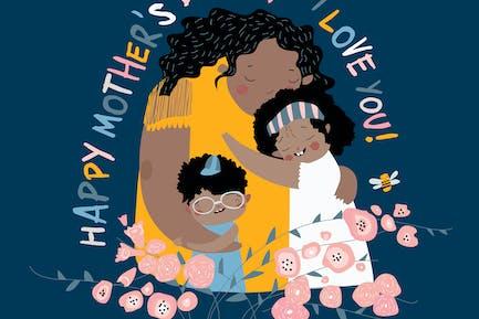Madre linda abrazando a sus hijos. Madres felices