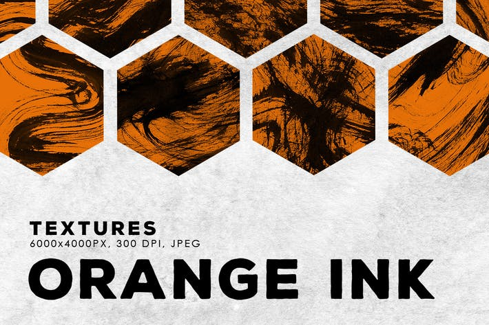 Cover Image For Orange Abstract Ink Textures