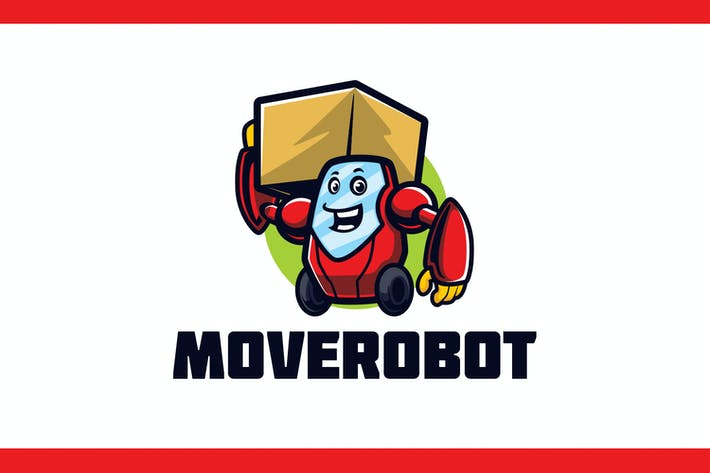 Cartoon Mover and Delivery Robot Mascot Logo