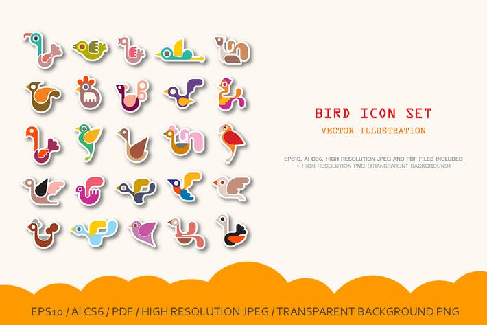Thumbnail for 3 options Bird vector icon set