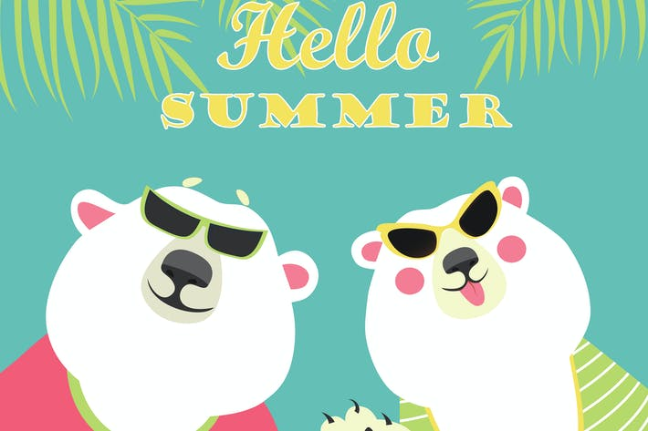 Thumbnail for Cute couple of polar bears. Hello summer.Vector