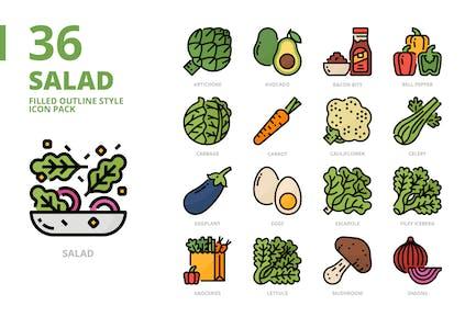 Conjunto de iconos de estilo de contorno relleno de ensalada