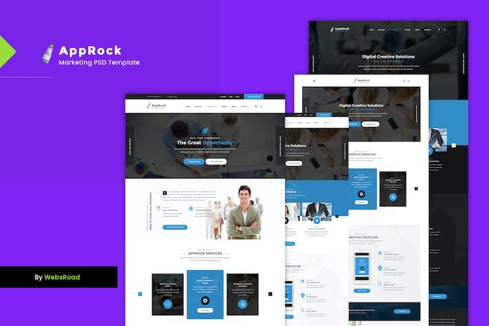 Cover Image For AppRock - Clean Business PSD Template