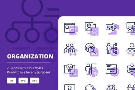 Organization Icons (Line and Solid)