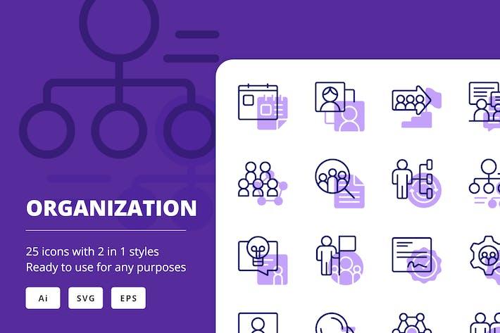 Íconos de organización (línea y sólido)