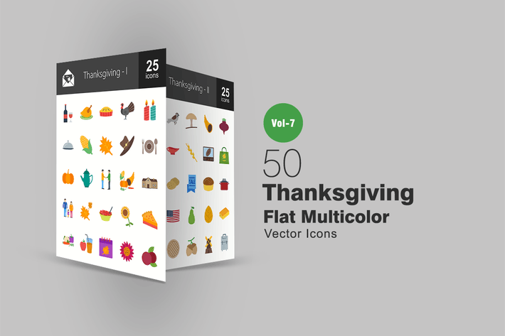 Cover Image For 50 Thanksgiving Flat Multicolor Icons