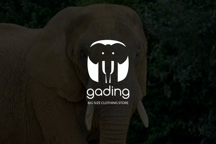 Thumbnail for Gading : Negative Space Elephant Logo