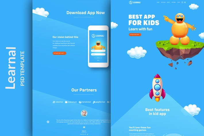 Thumbnail for Learnal - PSD Landing page