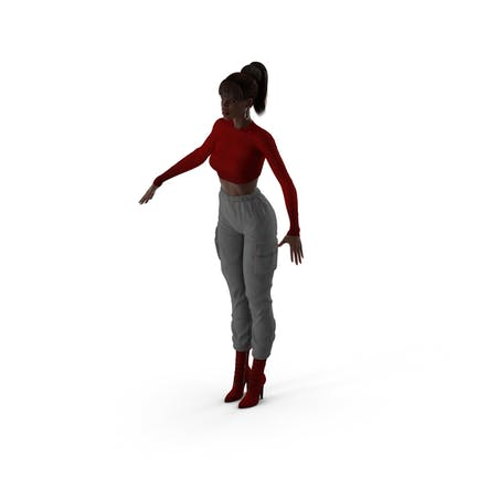 Dark Skin City Style Woman Neutral Pose