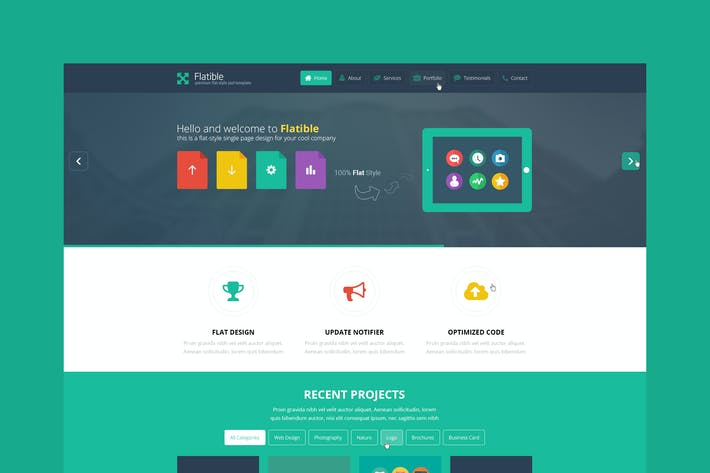 Thumbnail for Flatible - Single Page HTML5 Template