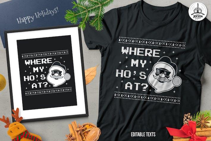 Thumbnail for Christmas Santa Sweater T-Shirt Design. Xmas Party