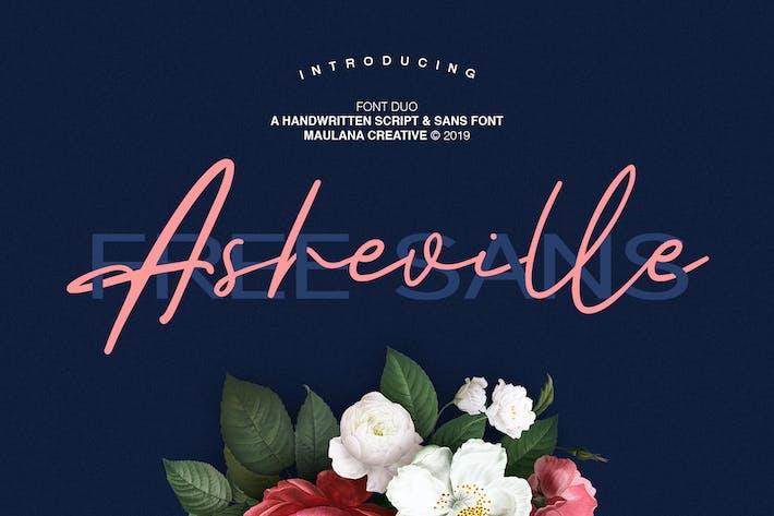 Thumbnail for Asheville Script - Free Sans Font