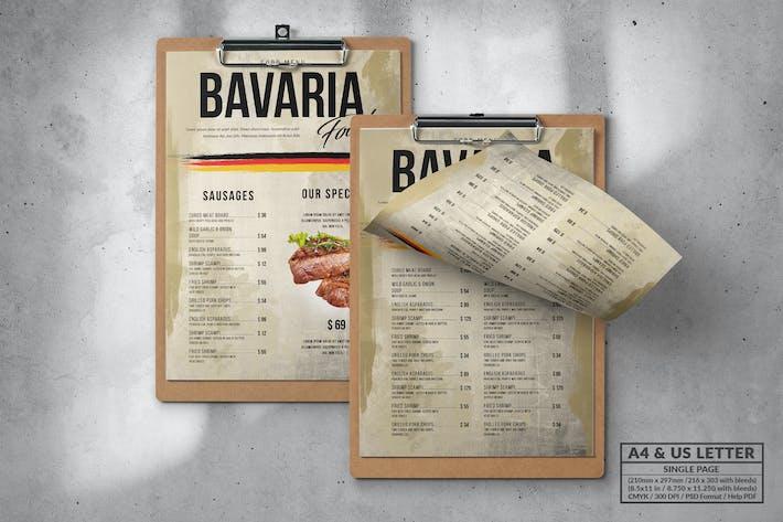 Stilvolle rustikale Speisekarte - Einzelseite