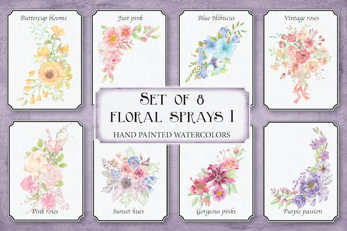 Thumbnail for Set of 8 Watercolor Clip Art Sprays I
