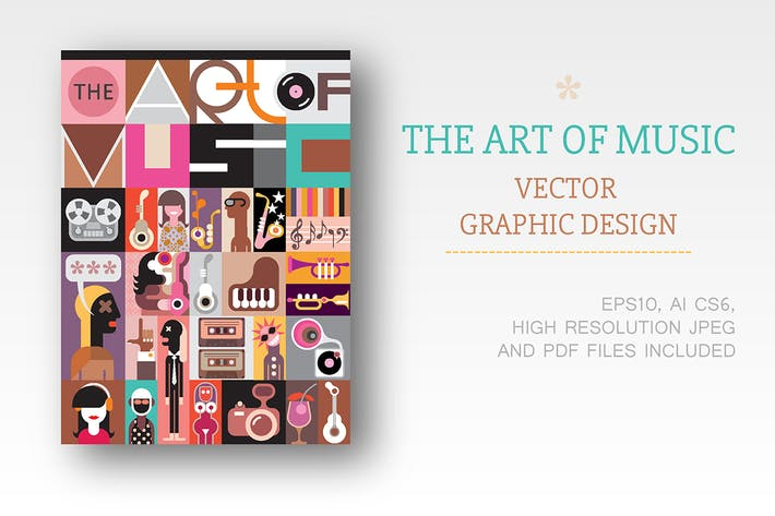 Cover Image For The Art of Music vector illustration