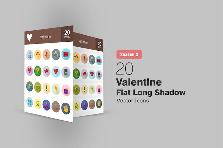 Thumbnail for 20 Valentine Flat Long Shadow Icons Season II