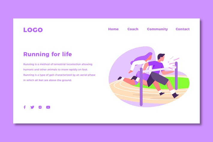 Thumbnail for Running - Landing Page Template