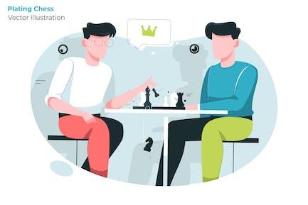 Jugar al ajedrez - Ilustración Vector