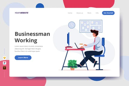 Businessman Working - Landing Page