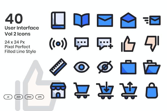 40 Пользовательский интерфейс Vol 2 Набор Иконки - заполненная линия